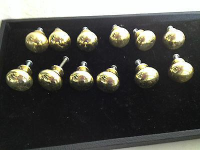 Lot of 12 Solid Brass Drawer Pull Knobs w/ screws Vintage Handles Furniture NEW