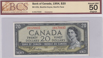 1954 Bank of Canada $20 Devil's Face Banknote BC-33b - BCS AU50