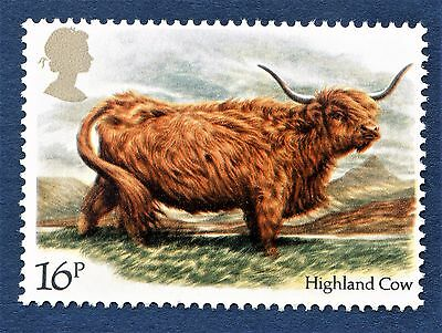 GB Highland Cow/Bos taurus/British Cattle/Breed/Scotland/ on a Stamp - U/M 13