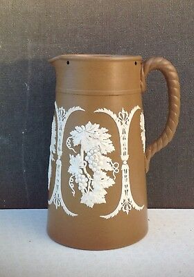 Dudson brown stoneware sprigged jug twisted handle depicting vines hops barley