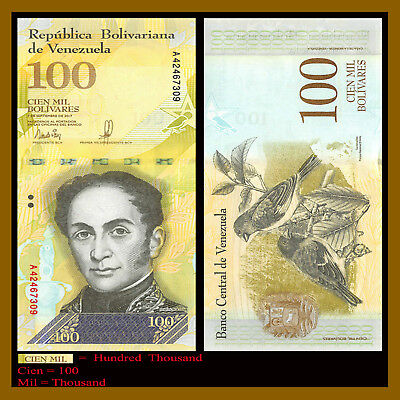 Venezuela 100000 (100,000) Bolivares, 2017 P-New Unc highest denomination