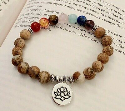 UK Ladies Men 7 Chakra Picture Jasper Gemstone Natural Stone Yoga Bracelet Wrap