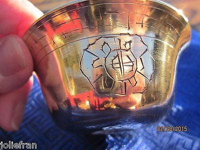 "Hand Etched Set Of 7 Heavy Brass Tibetan Buddhist Ritual 2.5"" Offering Bowls"