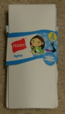 Girls HANES Tights 2 Pair Size S Small NEW White