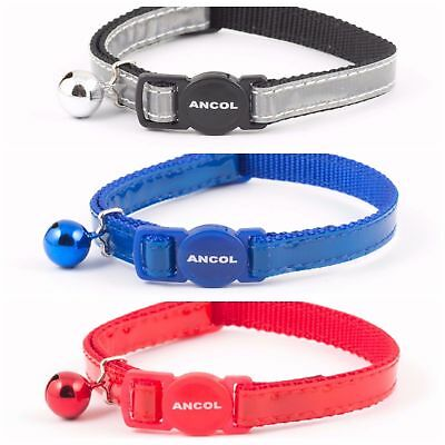 Ancol Gloss Reflective Cat Collar With Bell Sound Safety Break Away Buckle
