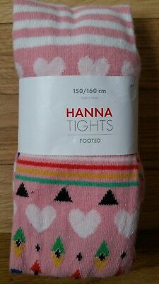Nwt Hanna Andersson Cotton Pink Heart Tree Fair Isle Footed Tights 150 160 12 14