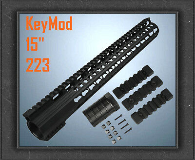 "223/556 Inch 15"" Ultra Light Super Slim Free Float KeyMod Handguard Quadrail"