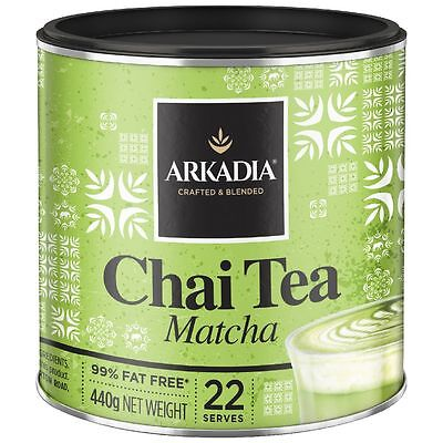 Arkadia Matcha Green Tea Chai Latte Powder 440g can - 100% NATURAL