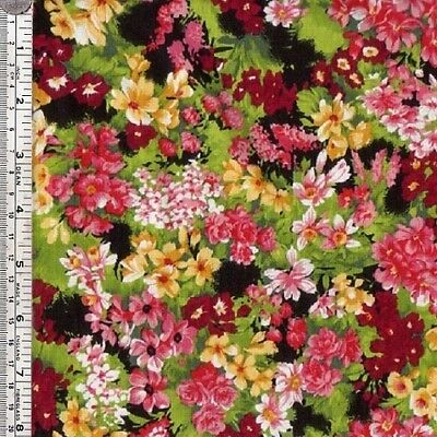 Wine, yellow pink FLOWERS on black quilt fabric ~ per 1/2 YARD - new