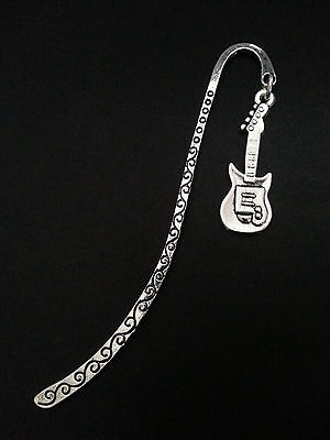 New Collectable Antique Silver Tone Metal Bookmark with Electric Guitar Charm