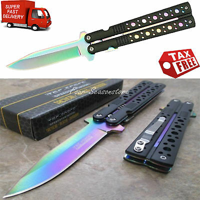 Butterfly Knife Rainbow Blade Black Handle Stainless Steel Training Practice