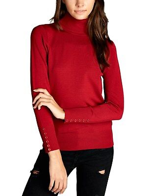 5f965d08b0496e *CLEARANCE* KOGMO Women's Long Sleeve Turtleneck Sweater with Sleeve Button  Top