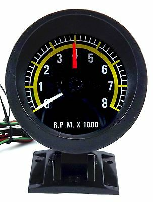 Tachometer 3.1/4'' Gauge Wide Sweep 250degree reading 4-6-8 cycl adjustable