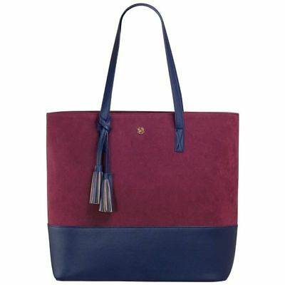 Mark & Hall Navy and Wine Colorblock Tote Bag