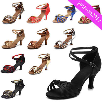 Brand New Women's Ballroom Latin Tango Dance Shoes heeled Salsa Dancing Colors