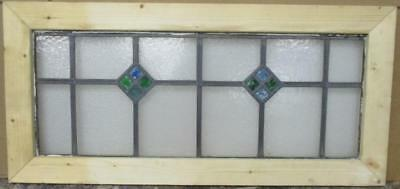 "LARGE OLD ENGLISH LEADED STAINED GLASS WINDOW Simple Diamond 36"" x 16.75"""
