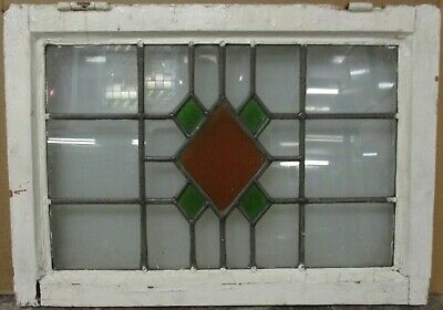 """OLD ENGLISH LEADED STAINED GLASS WINDOW Simple Geometric 22.5"""" x 16"""""""