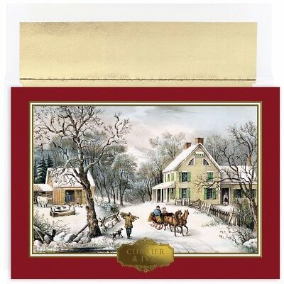 Currier & Ives Holiday Collection 18 pack Boxed Christmas Holiday Cards