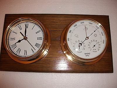 Barometer And Roman Numeral Clock And Double English Oak Mount