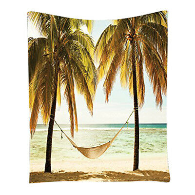 Seascape Hammock Palm Trees on Shore Tropical Beach Sunset Picture Room Dor K3M8
