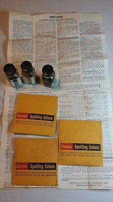Vintage SPOTONE Bottles with Instructions and Used Kodak  Spotting Colors