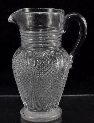 Rare Antique Pittsburgh Blown Molded Creamer Tulip Pattern Applied Handle 1840