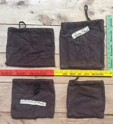 Vintage Brown Flannel Dust Bags (9) Nine Various Size Sterling Silver Drawstring