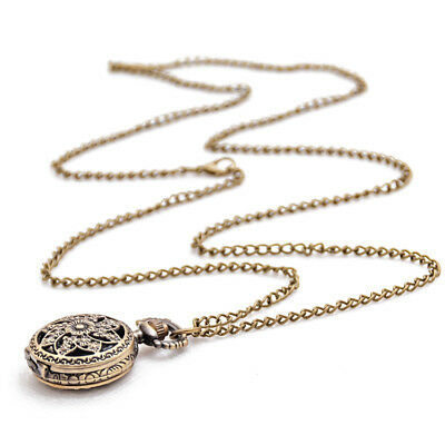 Fashion Vintage Retro Bronze quartz watch pocket Chain pendant necklace (lo W8V5