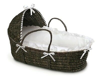 Espresso Dark Brown Baby Infant Moses Basket w/ Hood & White Bedding NEW