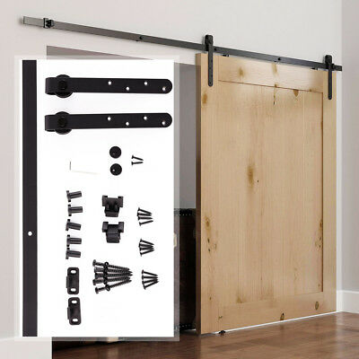 "35"" Sliding Barn Wood Door Hardware Kit Cabinet Closet Hanger 2pc Coffee"
