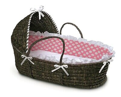 Espresso Dark Brown Baby Infant Moses Basket w/Hood Pink & White Polka Dot NEW