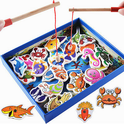 Fish Game Magnetic Fishing pool Rod Wooden Fish Model Kid Educational Toy Gift K