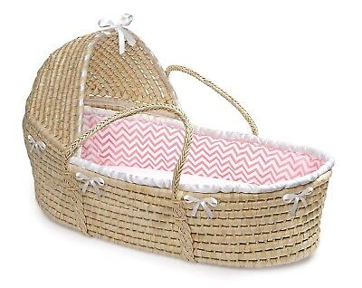 Natural Baby Infant Moses Basket w/Hood & Pink & White Chevron Liner NEW
