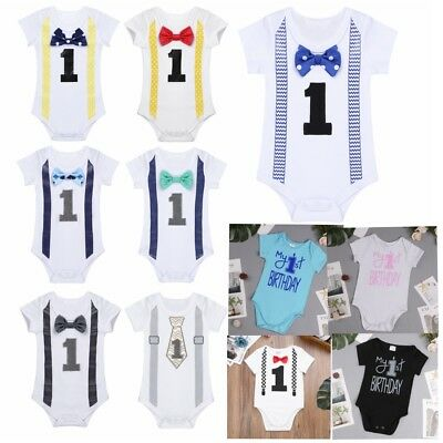 Baby Infant Girls Boy Romper Bodysuit Jumpsuit Outfit 1st Birthday Party Clothes