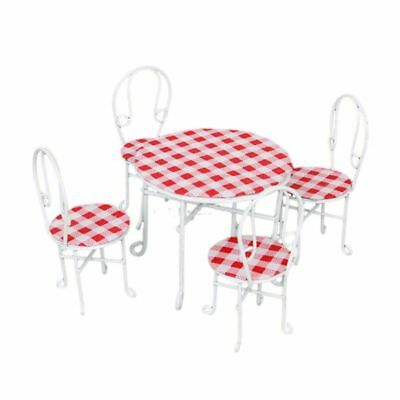 T8 1/12 Miniature Metal Wire Table and 4 Chairs Dollhouse Furniture White Chec A