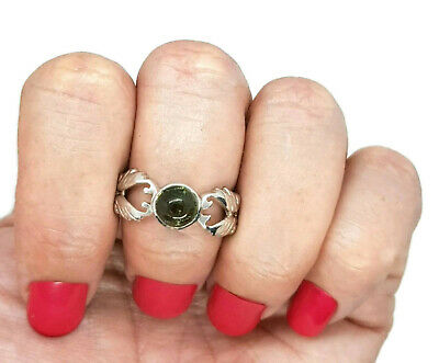 Green Tourmaline Ring, size 7 1/4 US, 925 Silver, Earth Energy