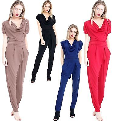 Womens V Neck Wrap Over Slim Fit Jumpsuit Ladies Sleevless Casual Wear Romper