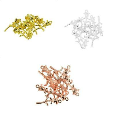 10pcs Alloy 3D Rose Flower Charms Pendant Jewelry Findings Fit Necklace