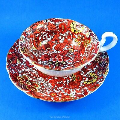 Bright Red and Yellow Chintz Radfords Tea Cup and Saucer Set