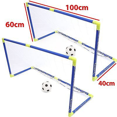 2 X Portable Football Soccer Goal Post Net Set Summer Outdoor