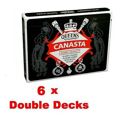 6 x Queen's Slipper Canasta Playing Cards Casino Quality Plastic Double Decks
