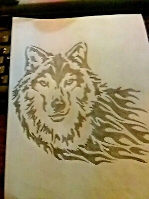 "Wolf Pyrography Plaque 6"" X 10"" - Many designs to choose from - Handcrafted"