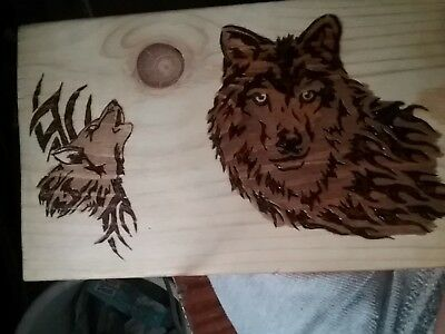 "Wolves Pyrography Plaque 6"" X 10"" - Many designs to choose from - Handcrafted"