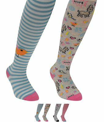 NEW Crafted Super Soft Tights 2 Pack Child Girls Ditsy Stripe