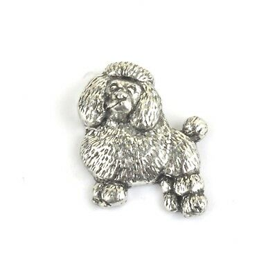 Poodle Badge Pin Brooch in Copyrighted Antiqued Pewter /& Gift Box Option