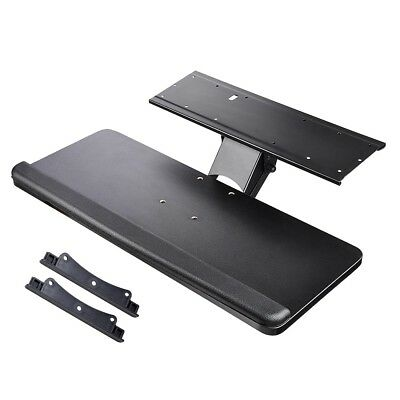 Under Desk Mount Adjustable Computer Keyboard Mouse Platform Tray w/ Wrist Rest