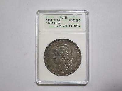 Argentina 1881 Peso Key Date Au58 Rainbow Toned Silver World Coin Collection Lot