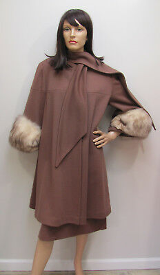 MAD-COOL Society Diva VTG 1960s LUNCH At the PLAZA DRESS & SWING COAT w/FOX FUR