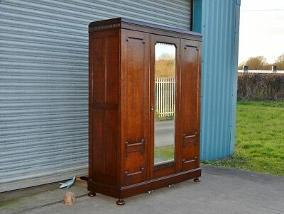 Large Antique Solid Oak Ladies Wardrobe Good Quality.
