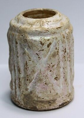 Roman Glass style Jar with a Cross and iridescence patina